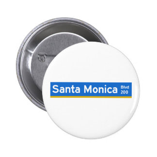 Santa Monica Boulevard, Los Angeles, CA Street Sig Pinback Button