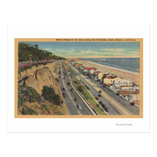 Santa Monica, CA - Beach Scene Along Palisades Postcard