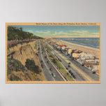 Santa Monica, CA - Beach Scene Along Palisades Poster