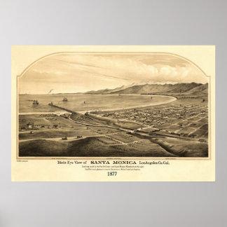 Santa Monica CA Panoramic Bird's Eye View Poster