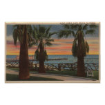 Santa Monica, CA - Yacht Harbor and Sunset View Poster