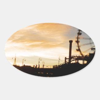 Santa Monica California Oval Sticker