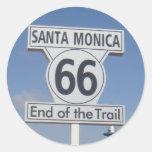Santa Mónica, California - RT 66 Etiqueta Redonda