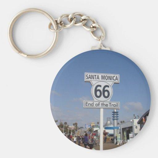 Santa Monica, California - RT 66 Basic Round Button Keychain