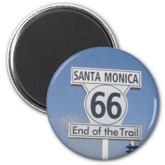 Santa Monica, California - RT 66 2 Inch Round Magnet