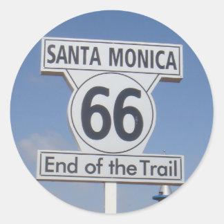 Santa Mónica, California - RT 66 Pegatina Redonda