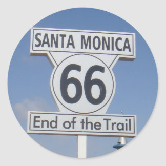 Santa Monica, California - RT 66 Classic Round Sticker