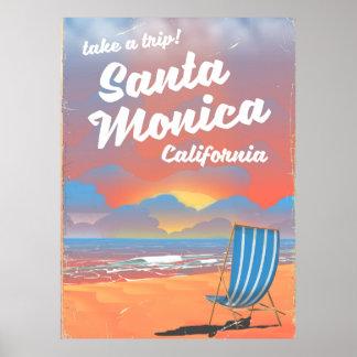 Santa Monica California vintage beach poster