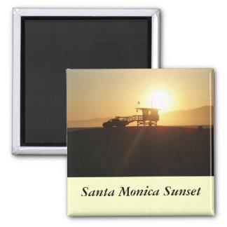 Santa Mónica en la puesta del sol Imán Cuadrado