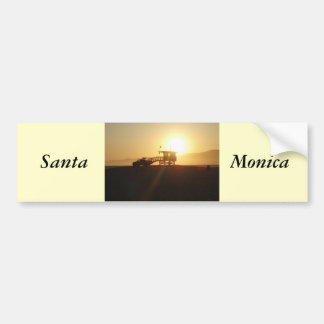 Santa Mónica en la puesta del sol Pegatina Para Auto