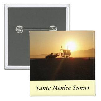Santa Mónica en la puesta del sol Pin Cuadrado