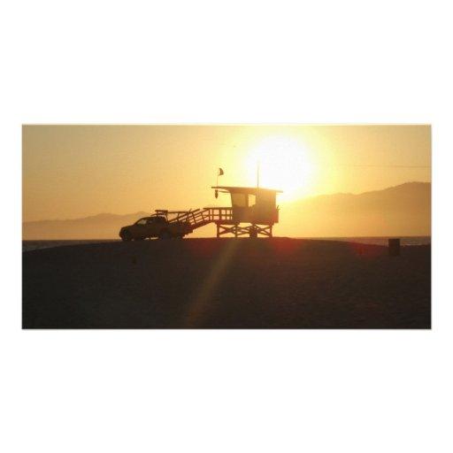 Santa Mónica en la puesta del sol Tarjetas Con Fotos Personalizadas