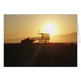 Santa Mónica en la puesta del sol Tarjeta De Felicitación