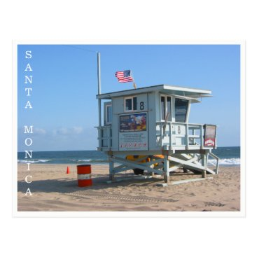 Beach Themed santa monica lifeguard postcard
