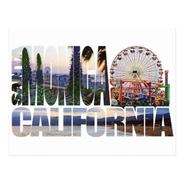 Beach Themed Santa Monica logo flowers pier beach Postcard