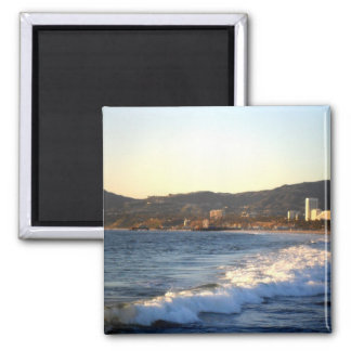 Santa Monica Pier as seen from Venice Beach 2 Inch Square Magnet