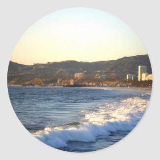 Santa Monica Pier as seen from Venice Beach Classic Round Sticker