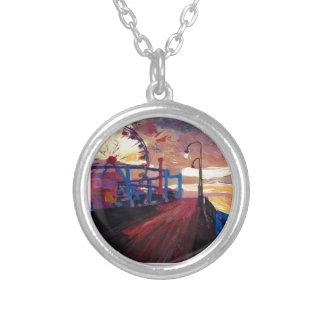 Santa Monica Pier At Dawn Round Pendant Necklace
