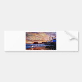 Santa Monica Pier At Sunset Bumper Sticker