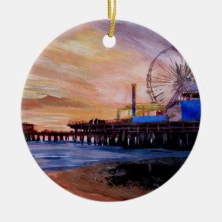 Santa Monica Pier At Sunset Ceramic Ornament