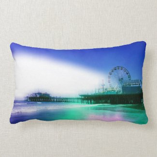 Santa Monica Pier - Blue Green Photo Edit Lumbar Pillow