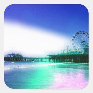 Santa Monica Pier - Blue Green Photo Edit Square Sticker