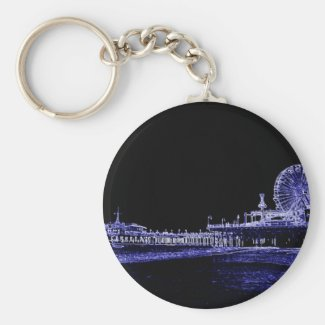 Santa Monica Pier Blue Neon Night Photo Edit Keychain