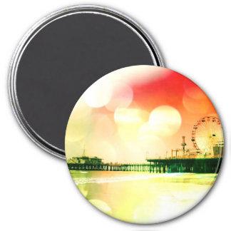 Santa Monica Pier - Bursting Colors Photo Edit 3 Inch Round Magnet