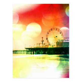 Santa Monica Pier - Bursting Colors Photo Edit Postcard