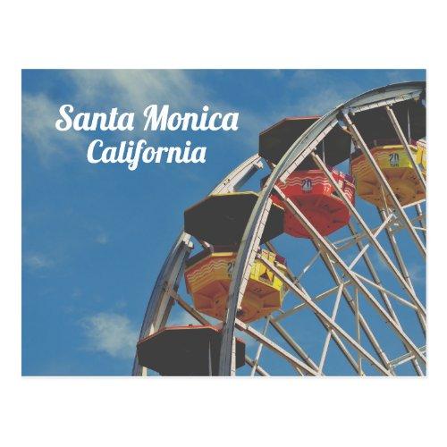 Santa Monica Pier California Vintage Ferris Wheel Postcard