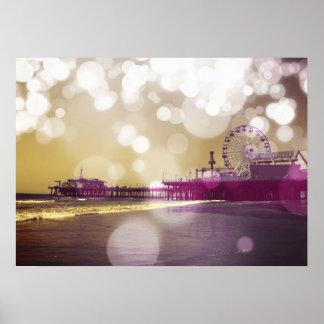 Santa Monica Pier Golden Purple Bokeh Poster