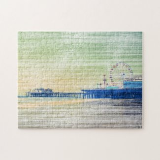 Santa Monica Pier green grey Canvas Jigsaw Puzzle