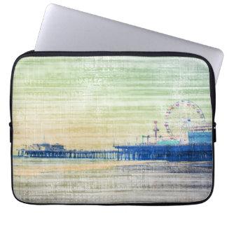Santa Monica Pier green grey Canvas Laptop Sleeve