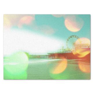 "Santa Monica Pier Green Orange Sparkles 15"" X 20"" Tissue Paper"