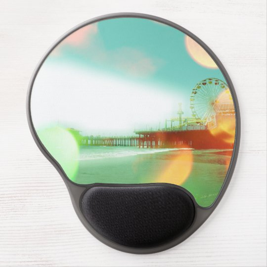 Santa Monica Pier Green Orange Sparkles Edit Gel Mouse Pad