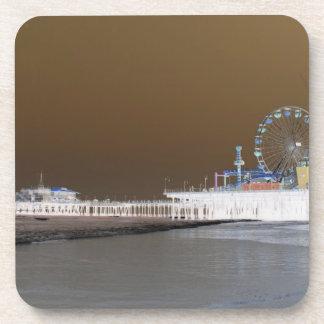 Santa Monica Pier Grey Brown Photo Edit Coaster