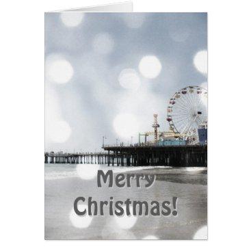 Beach Themed Santa Monica Pier Grey Sparkles Merry Christmas! Card