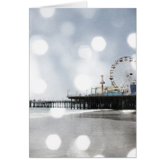 Santa Monica Pier - Grey Sparkles Photo Edit Card