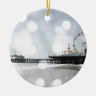Santa Monica Pier - Grey Sparkles Photo Edit Ceramic Ornament