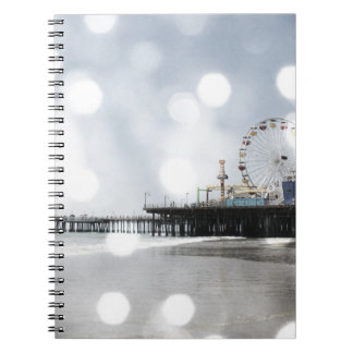 Santa Monica Pier - Grey Sparkles Photo Edit Note Books
