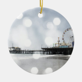 Santa Monica Pier - Grey Sparkles Photo Edit Christmas Ornaments