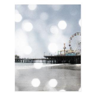 Santa Monica Pier Grey Sparkles Photo Edit Postcard