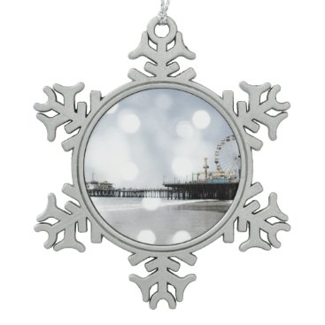 Beach Themed Santa Monica Pier Grey Sparkles Photo Edit Snowflake Pewter Christmas Ornament