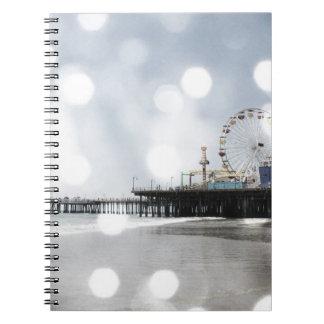 Santa Monica Pier - Grey Sparkles Photo Edit Spiral Notebook