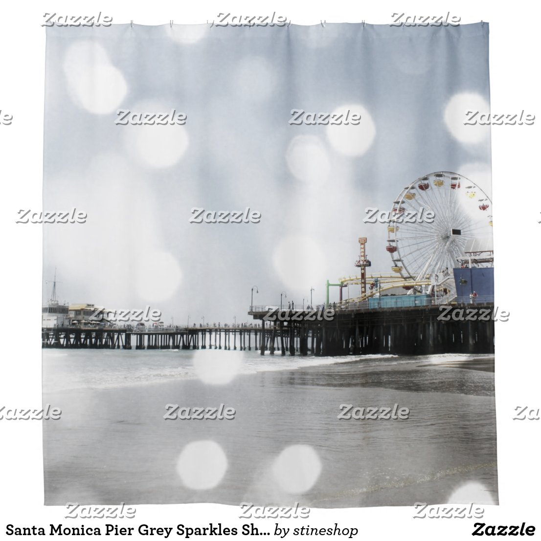 Santa Monica Pier Grey Sparkles Shower Curtain