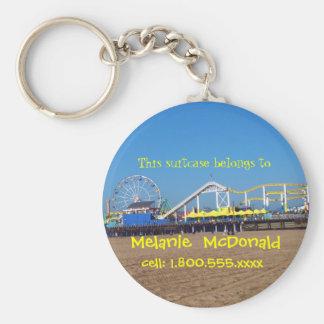 Santa Monica Pier Luggage Tag Basic Round Button Keychain