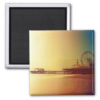 Santa Monica Pier - Orange Sunrise Photo Edit 2 Inch Square Magnet