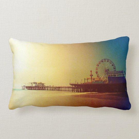 Santa Monica Pier - Orange Sunrise Photo Edit Lumbar Pillow