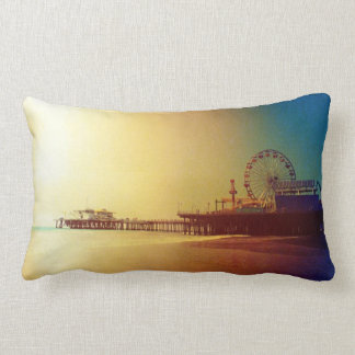 Santa Monica Pier - Orange Sunrise Photo Edit Pillow