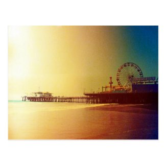 Santa Monica Pier - Orange Sunrise Photo Edit Postcard